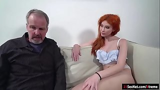 Russian redhead Gisha Forza gives bj to n screwed by old guy