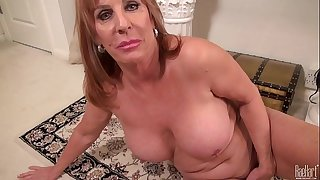 Big titted Mature mom on the rug in sundress