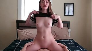 POV Teen girl riding and creampied