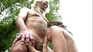 70 year old grandpa fucks 18 year old girl moans with pleasure and gulps