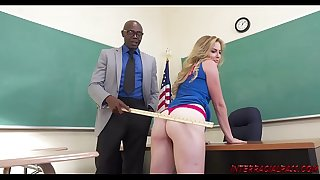 Schoolgirl Britney Light takes teachers big black shaft